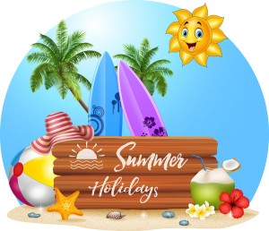 Cartoon-summer-holiday-background-with-wooden-plaque-vector-0513